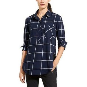ATHLETA Presidio Plaid Tunic Top - Navy White